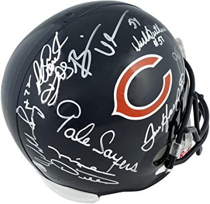 4b1dea8051d Image Unavailable. Image not available for. Color: Chicago Bears  Autographed Riddell Replica Helmet with ...