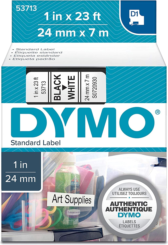 D1 Standard Tape Cartridge for Dymo Label Makers, 1in x 23ft, Black on White [並行輸入品]