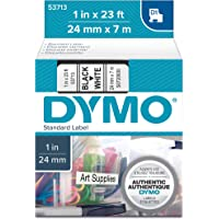 DYMO Authentic Standard D1 53713 Labeling Tape ( Black Print on White Tape , 1'' W x 23' L , 1 Cartridge), Package may vary