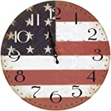 Yosemite Home Decor CLKA7189 Circular Iron Framed Distressed Wall Clock with Glass, multi-color