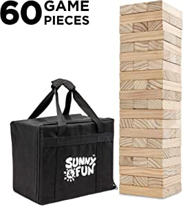 Sunny & Fun Large Tumbling Tower | 60 Piece Set Oversized Wooden Toppling Blocks | Indoor & Outdoor Stacking Yard Game for Adults & Kids | Great for Party Lawn Backyard | w/ Storage Carry Bag