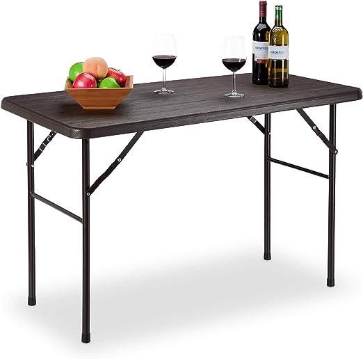 Relaxdays Table de Jardin Pliante rectangulaire en Plastique ...