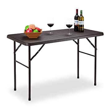 Relaxdays Table de Jardin Pliante rectangulaire en Plastique ...