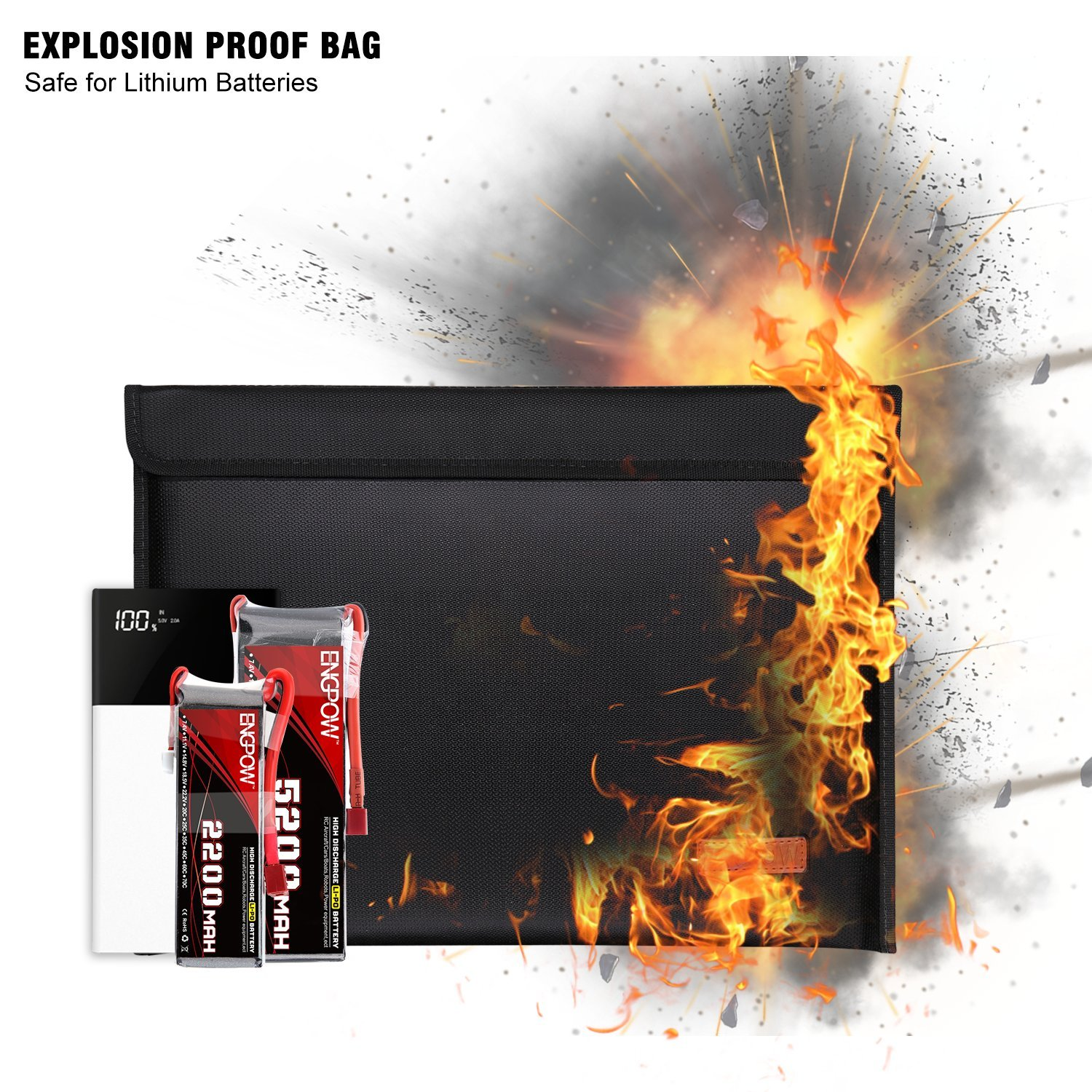 Fireproof Bag ENGPOW Non-Itchy Silicone Coated Fire Resistant Deposit Bags Zipper Money Bag Fireproof Safe Storage for Money,Documents,Laptop,Jewelry and Passport (Black,15x11inch)