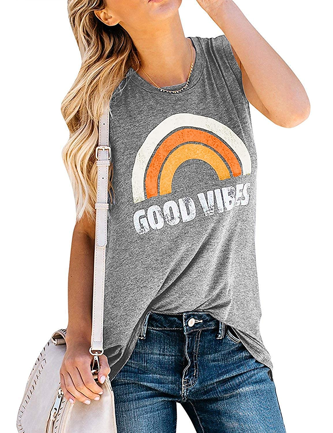 Women's 70s Shirts, Blouses, Hippie Tops Hount Womens Good Vibes Tank Tops Loose Fit Casual Sleeveless Top T Shirt $21.99 AT vintagedancer.com