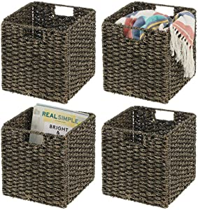 """mDesign Natural Woven Seagrass Closet Storage Organizer Basket Bin - Collapsible - for Cube Furniture Shelving in Closet, Bedroom, Bathroom, Entryway, Office - 10.5"""" High, 4 Pack - Black Wash"""