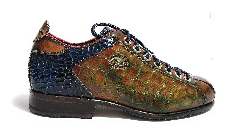 HARRIS - Zapatos de Cordones de Piel para Hombre Cuoio/BLU/Lino
