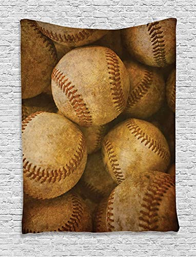 Ambesonne Vintage Tapestry, Vintage Baseball Background American Sports Theme Nostalgic Leather Retro Balls Artwork, Wall Hanging for Bedroom Living Room Dorm Decor, 60 X 80 , Brown