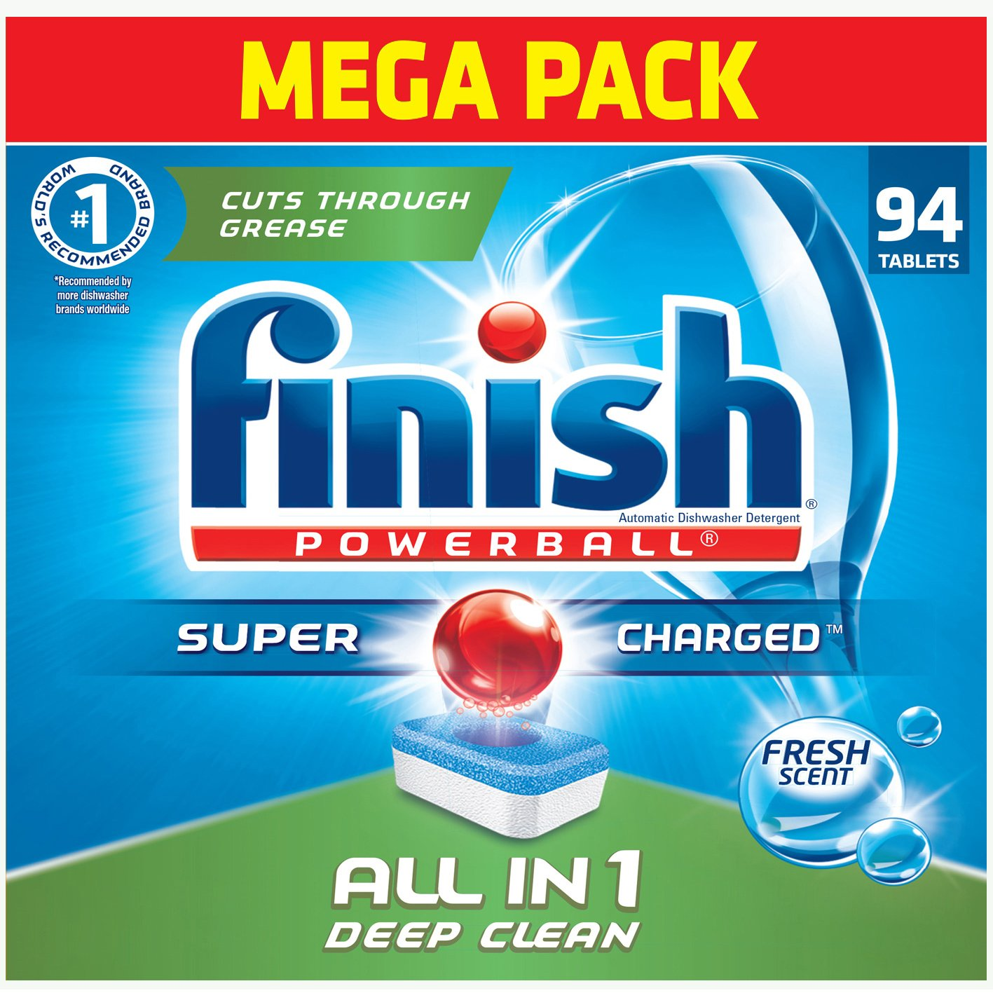 Finish - All in 1-94ct - Dishwasher Detergent - Powerball - Dishwashing Tablets - Dish Tabs