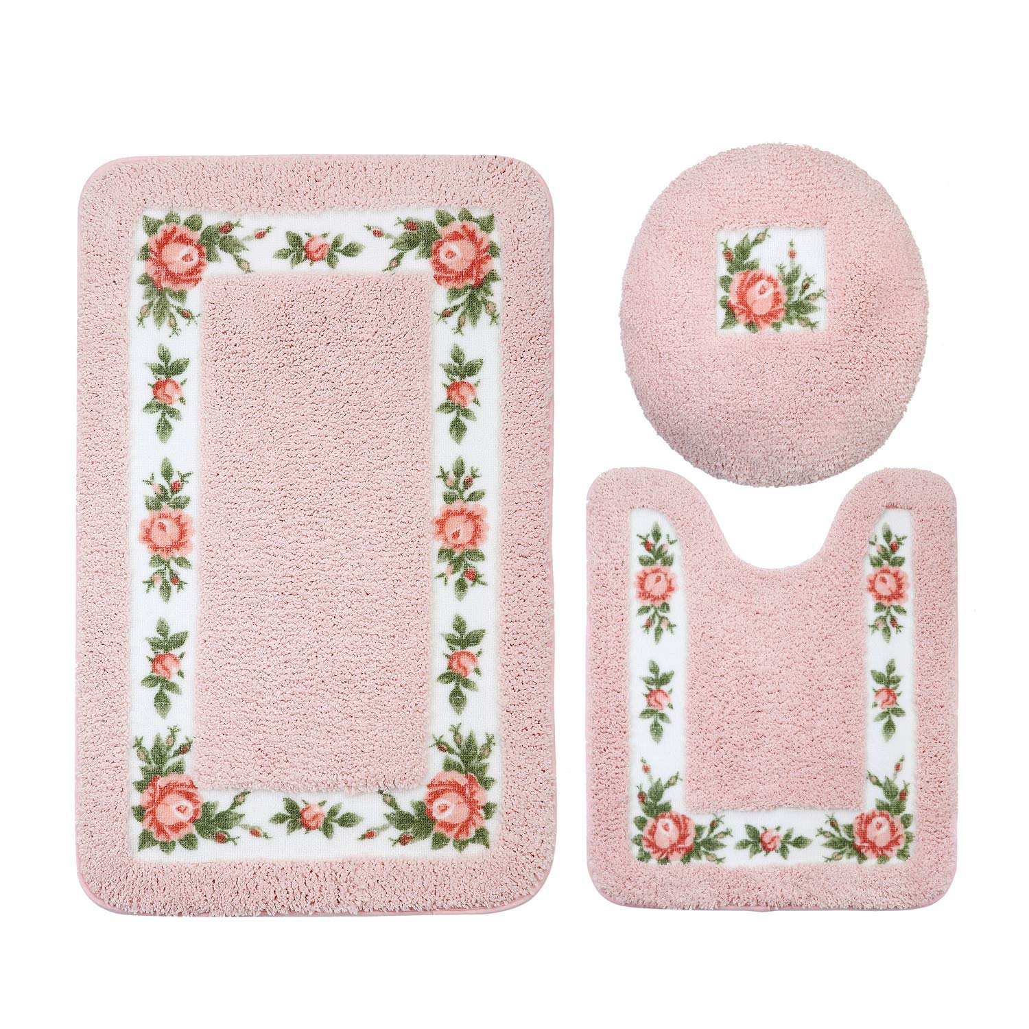 JSJ_CHENG Non-Slip Pink Rose Floral Bathroom Toilet Shower Bath Rugs and Mats Set of 3pcs Rectangular 19.6'' x 31.4'' + U Shape 19.6'' x 23.6'' + lid Cover