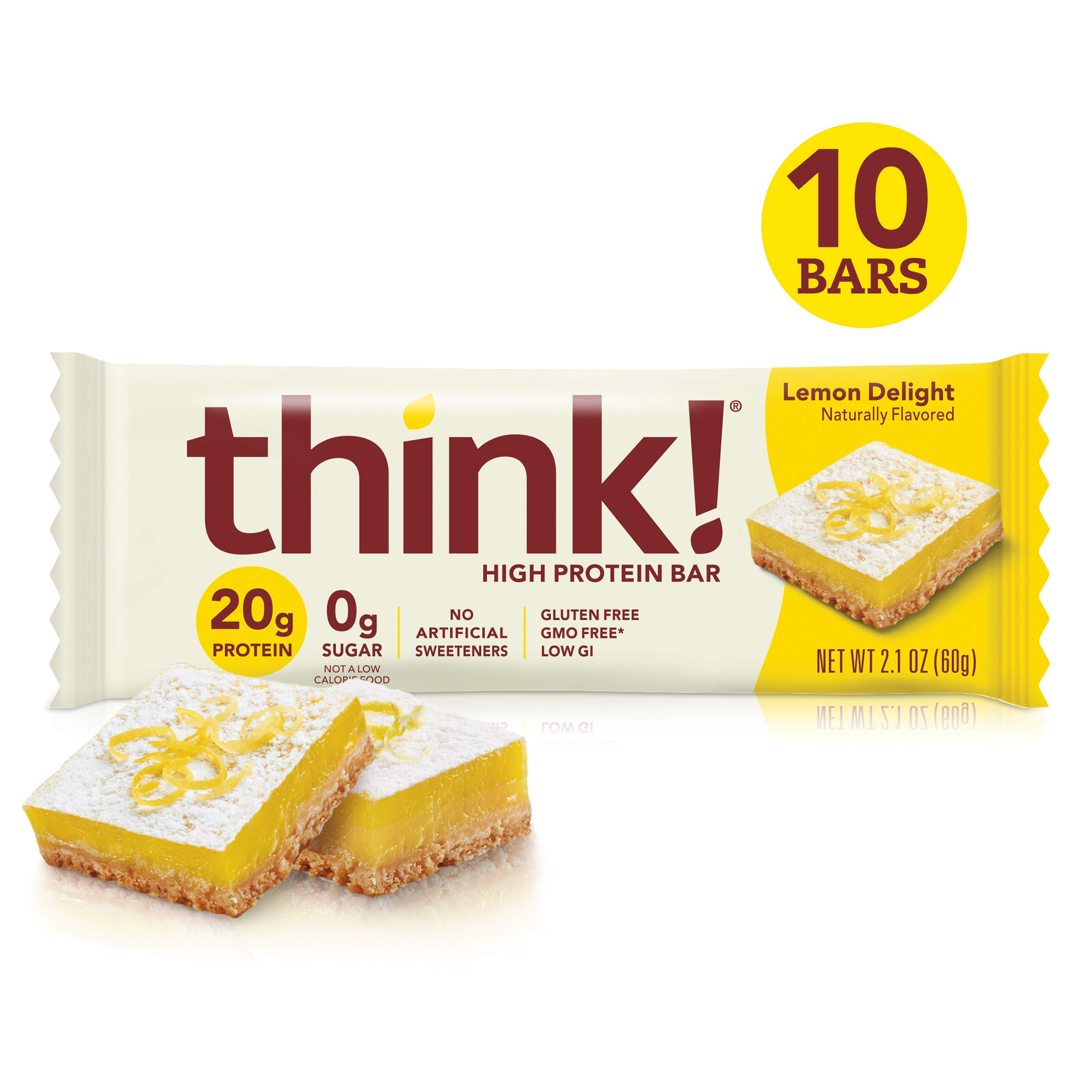 think! (thinkThin) High Protein Bars - Lemon Delight, 20g Protein, 0g Sugar, No Artificial Sweeteners**, Gluten Free, GMO Free*,2.1 Ounce (10 Count) - Packaging May Vary by think!