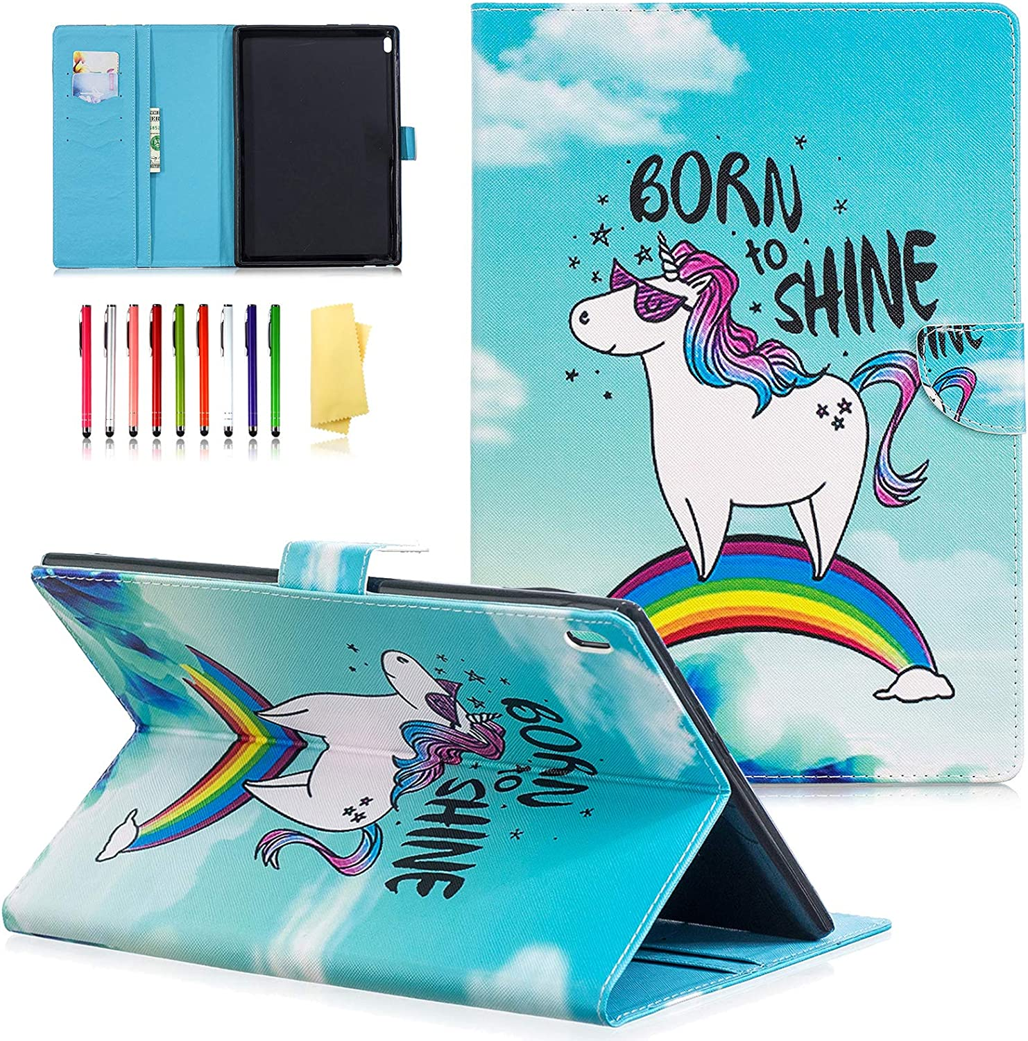 UUcovers Case for Lenovo Tab 4 10 (TB-X304F/TB-X304N) and Tab 4 10 Plus (TB-X704F/TB-X704N) 10 inch, PU Leather Folio Flip Stand Wallet Cover with Pocket Magnetic Closure [Card Slots], Rainbow Horse