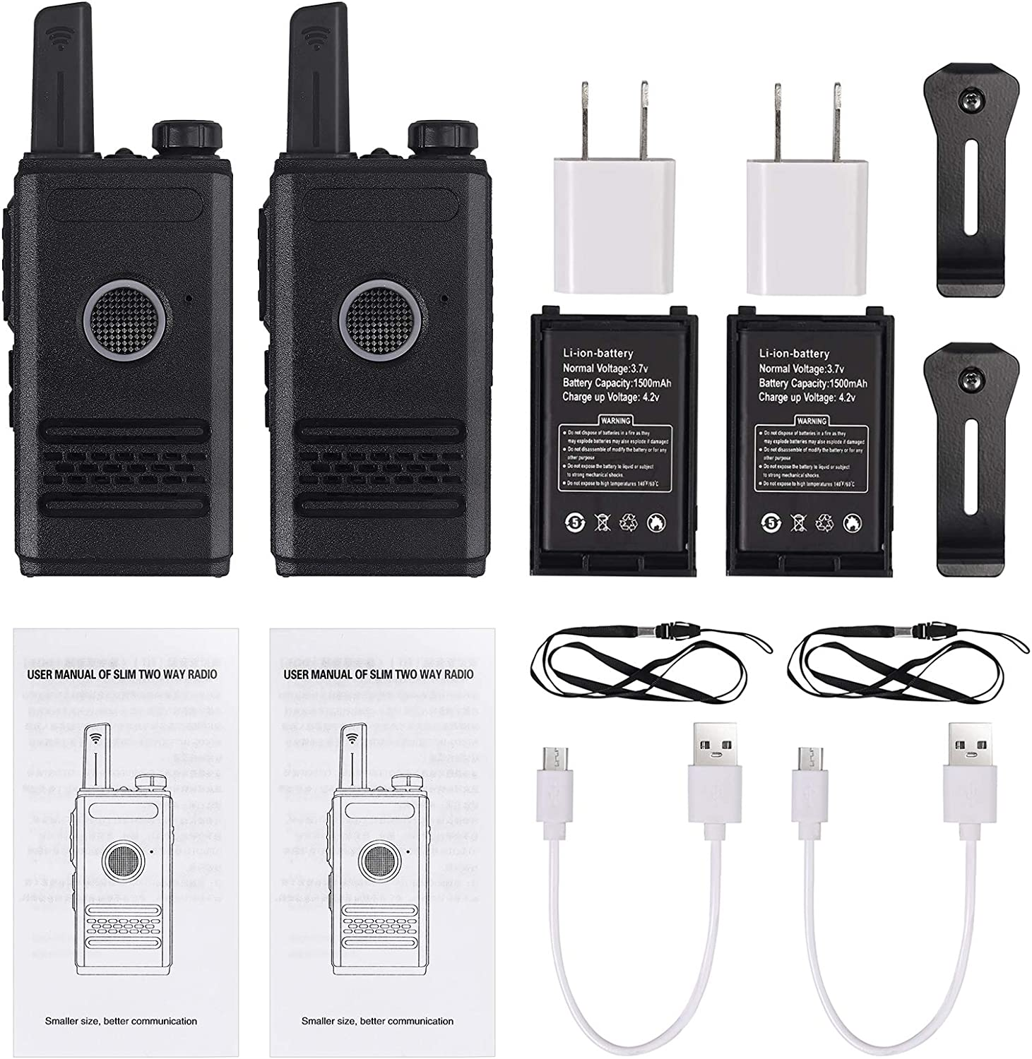Proster Rechargeable Walkie Talkies Two Way Radio Long Range 16 Channel UHF USB Cable Charging Mini Two-Way Radios 2 Pack