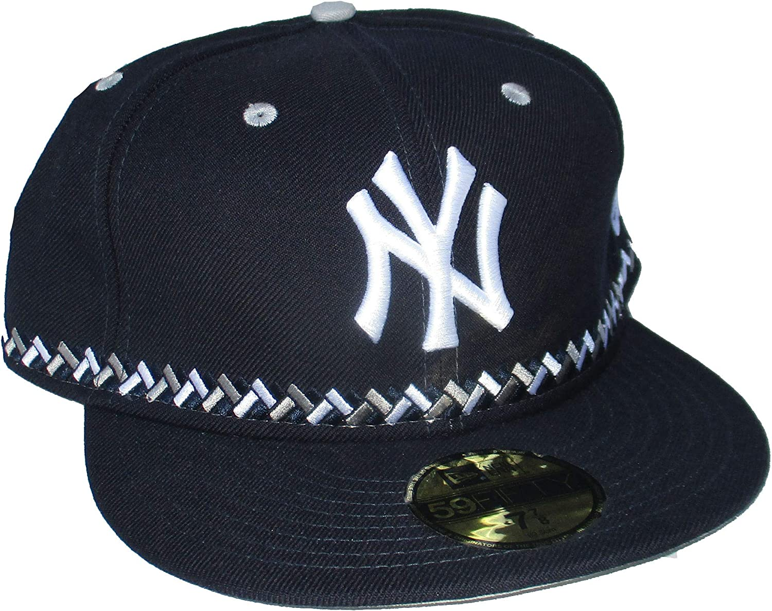 New York Yankees Fitted Size 7 7/8 Braid Band Cap Hat - Navy