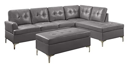 Homelegance 3 Piece Tufted Accent Sectional Sofa With Chaise And Ottoman  Bi Cast Vinyl