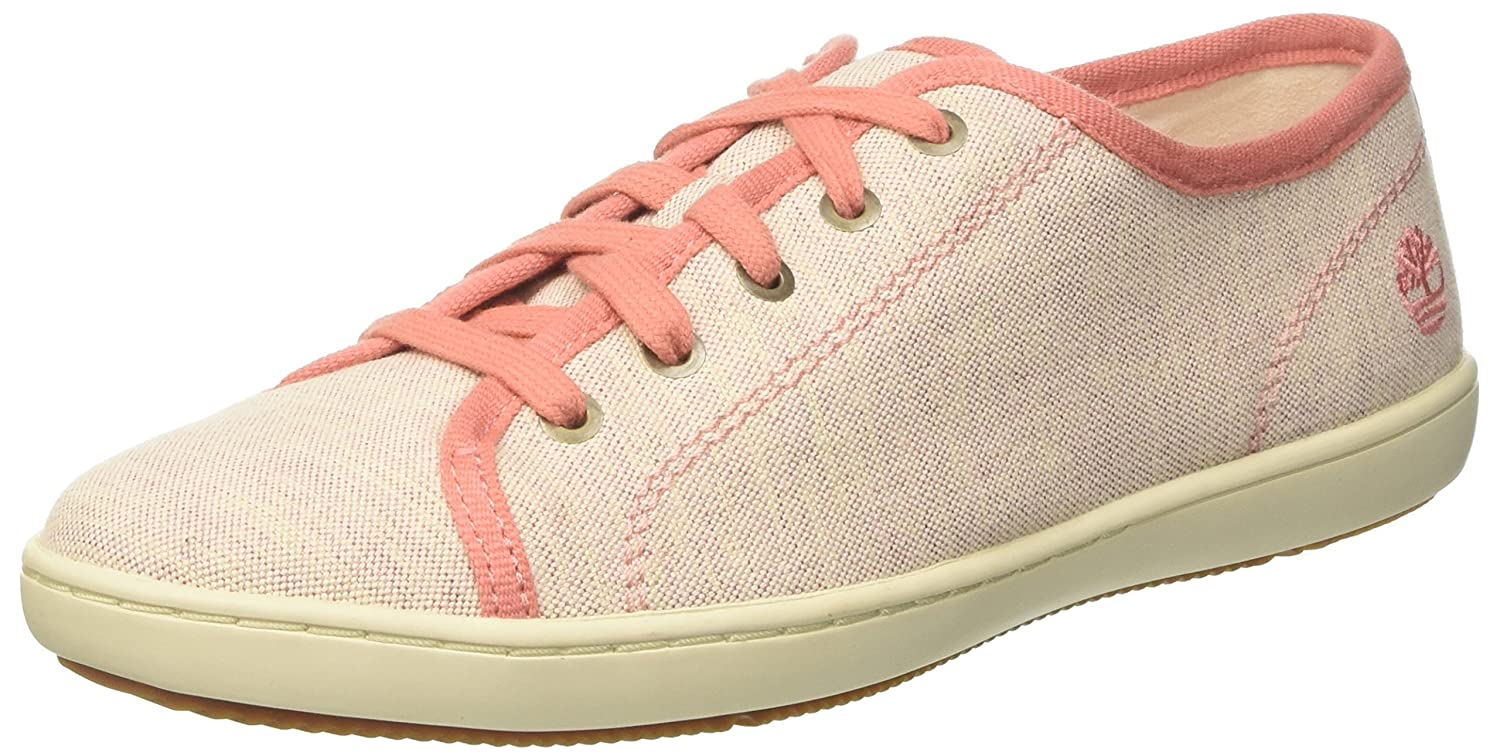 Timberland Mayport, Zapatos de Cordones Oxford para Mujer, Rosa (Crabapple Canvas with Natural Tan K41), 38 EU