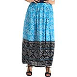 Exotic India Double-Shaded Elastic Long Skirt With Band
