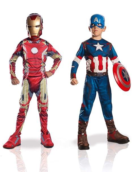 prima qualità super economico rispetto a a piedi a Marvel 155014s - Costumi per bambini, Set da 2 pezzi, Capitan America +  Iron Man 2, S, 90-104 cm, Età minima: 3 anni