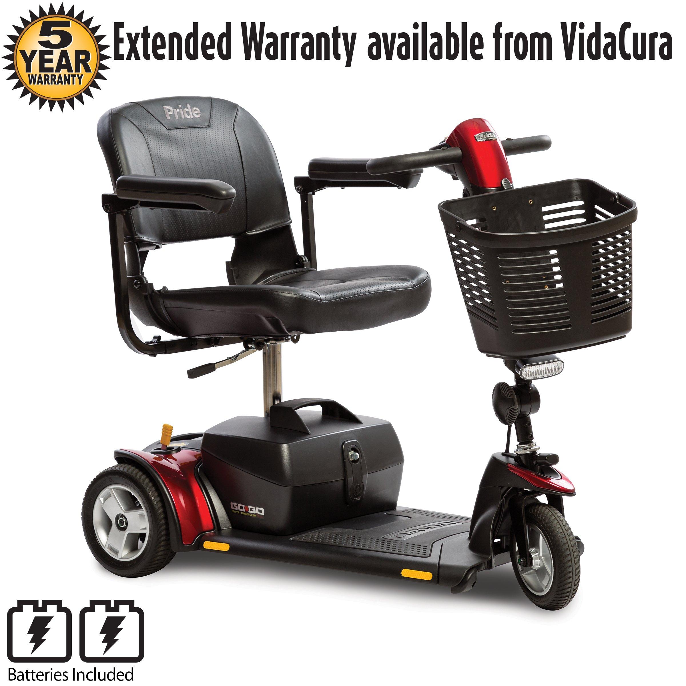 Pride Go-Go Elite Traveller Plus 3-Wheel Travel Scooter w/ avail ext warr