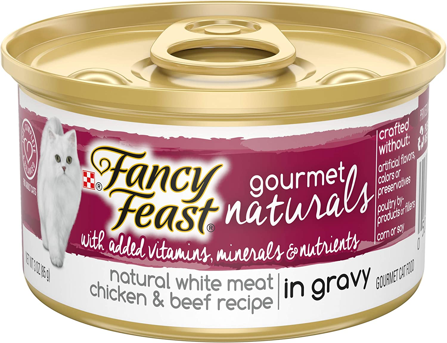 Purina Fancy Feast Natural Gravy Wet Cat Food, Gourmet Naturals Natural White Meat Chicken & Beef Recipe - (12) 3 oz. Cans