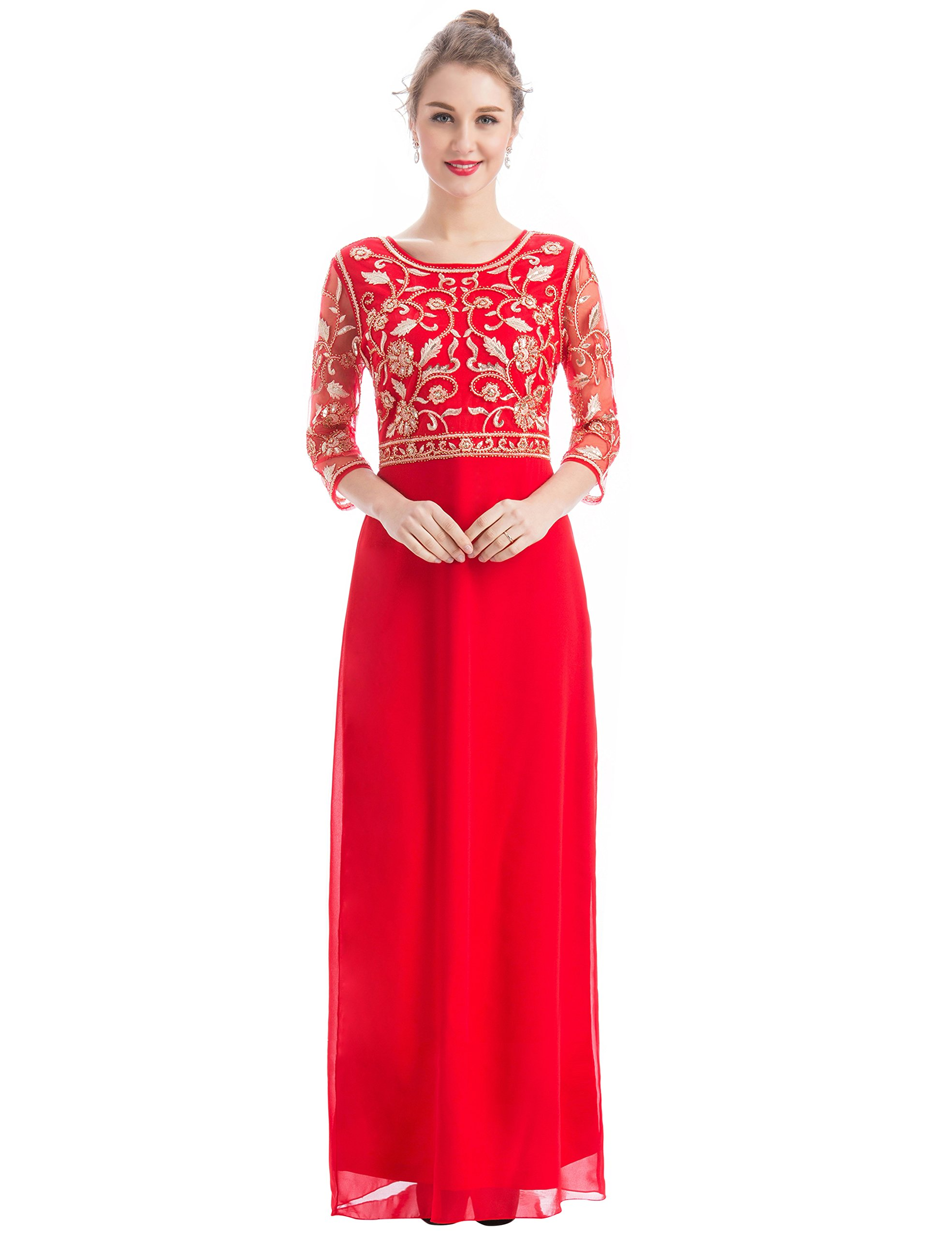 Red Evening Gowns with Sleeves: Amazon.com