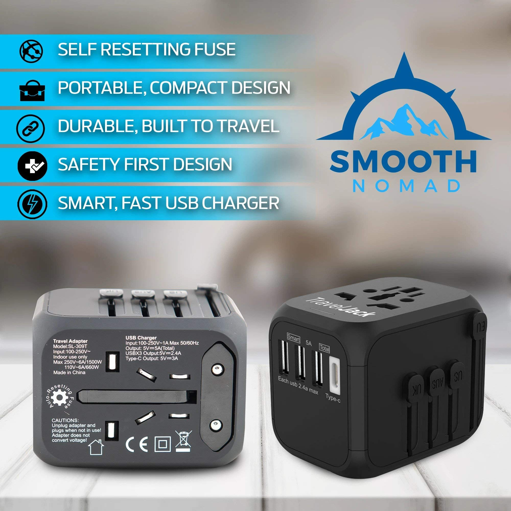 International Travel Adapter - Smart Plug Socket Converter for Europe, Asia, Africa, America - World Travel Adapter with USB, Type-C Wall Outlet Charger - Plug and Lock, Safety Surge Protection