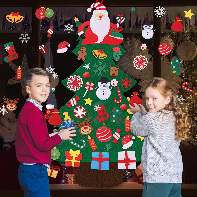 Migaven Arbol Navidad Fieltro DIY Arbol de Navidad en Fieltro Adornos Colgantes de Puerta de pared 40 Adornos para Ni/ños Ni/ños Peque/ños Regalos Accesorios para El Hogar 47x33 Pulgada