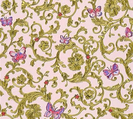 Versace wallpaper non-woven wallpaper Butterfly Barocco 10.05 m x 0.70 m green metallic pink Made