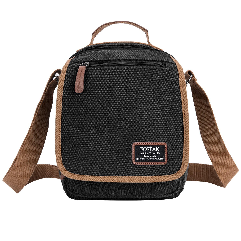 FOSTAK Bolso mensajero pequeño de lona Monedero Anti RFID bandolera Crossbody Satchel Bag/Shoppers y bolsos de hombro para hombre(Lona Negro)