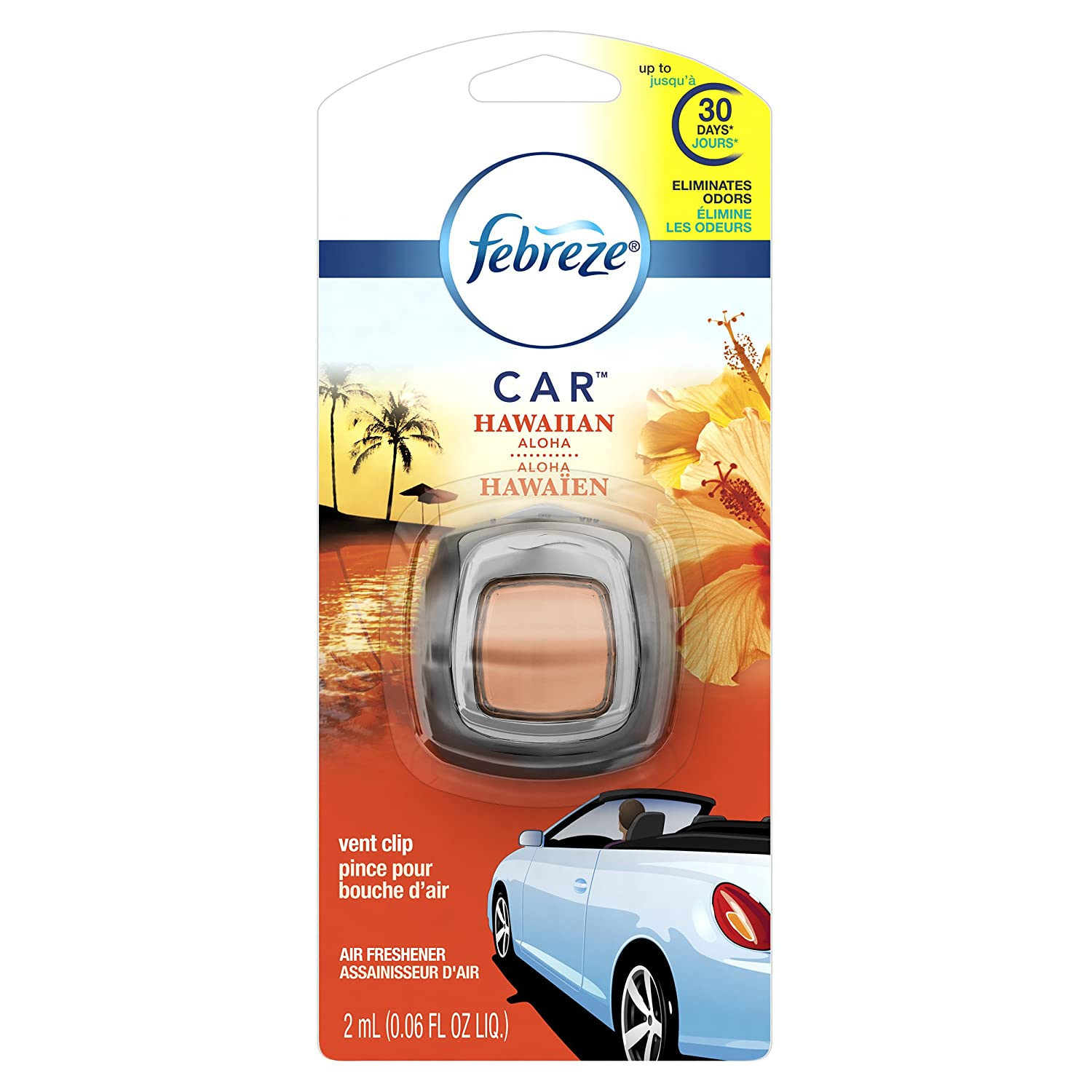 Febreze Car Vent Clip Hawaiian Aloha Air Freshener 1 Count - Packaging May Vary Procter and Gamble