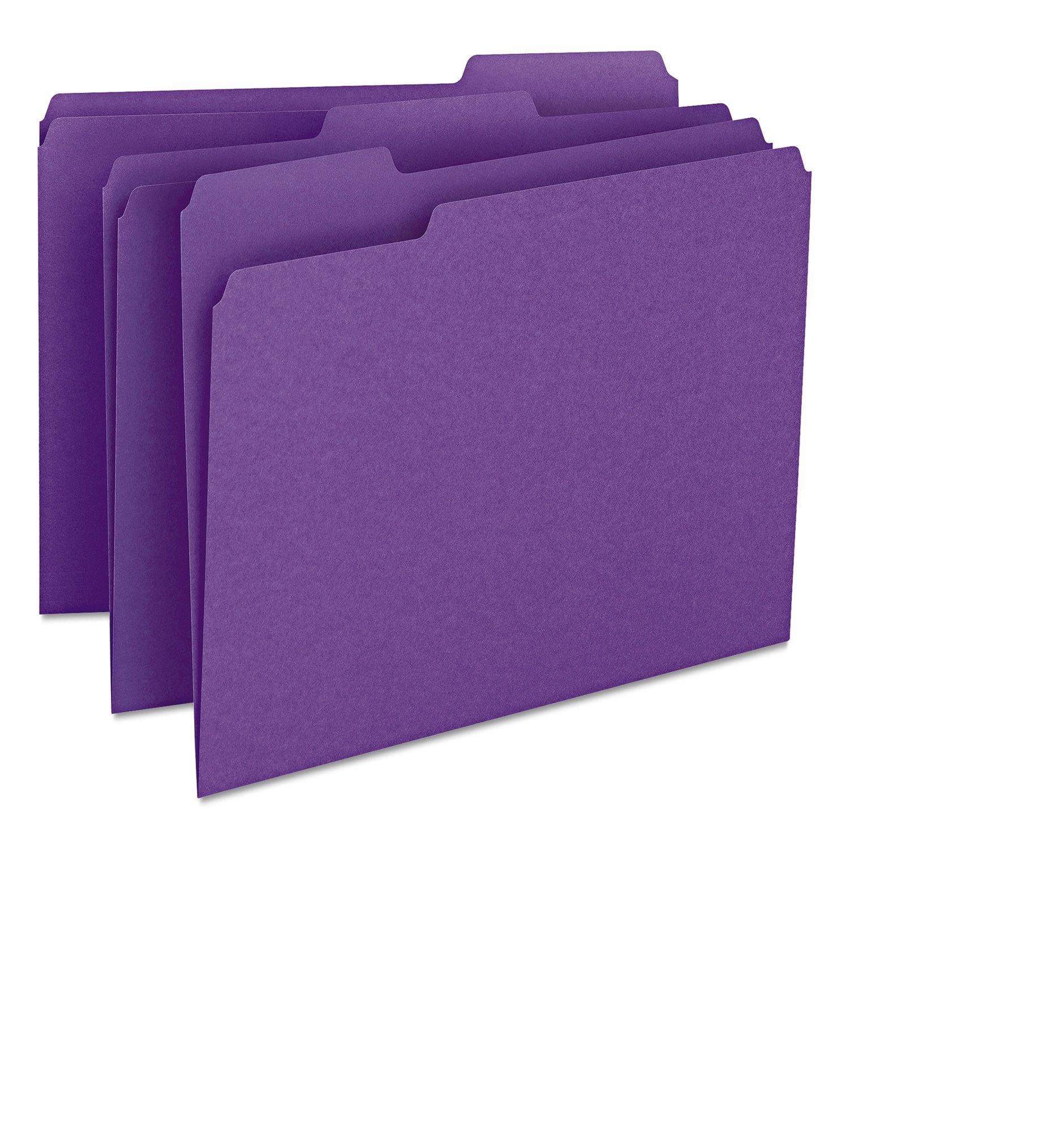 Smead File Folder, Reinforced 1/3-Cut Tab, Letter Size, Purple, 100 per Box (13034)