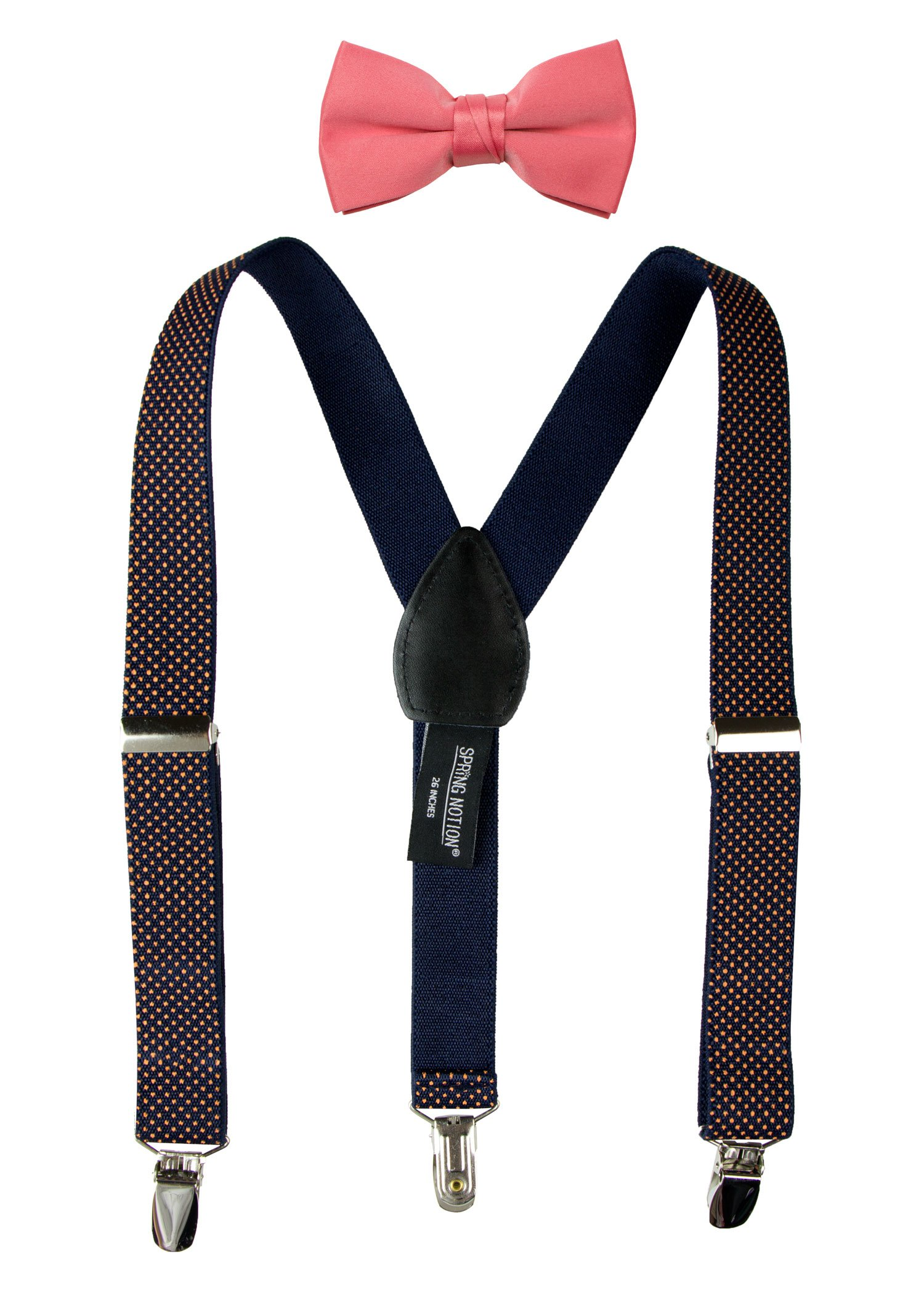 Spring Notion Boys' Suspenders and Solid Color Bowtie Set Navy Orange Dots Small