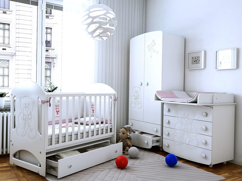 Babyzimmer ROME U201eBEARu201cArt. Nr.: 08.06; 25.5.06; 28.06, Kinderzimmer Komplett  Set 3 Tlg., In Weiß, Kleiderschrank B: 90 Cm, Wickelkommode B: 90 Cm, ...