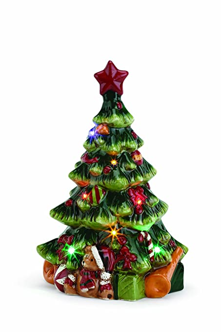 christmas tree presents led light up 11 inch ceramic musical tabletop figurine