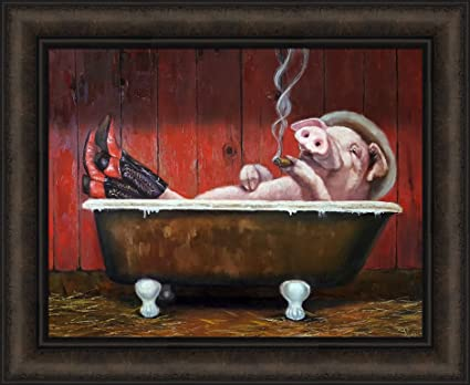 Hog Heaven By Lucia Heffernan 18x22 Pig In Bathtub Wearing Cowboy Boots And  Hat Smoking Cigar