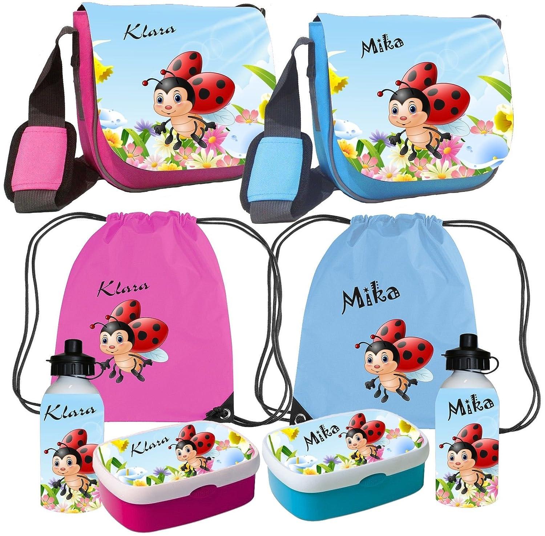Kindergartentasche Peppi MarienkŠfer mit Name des Kindes Kindertasche Tasche Set Besteeht aus: Trinkflasche, Brotdose, Turnbeutel & Kindergartentasche