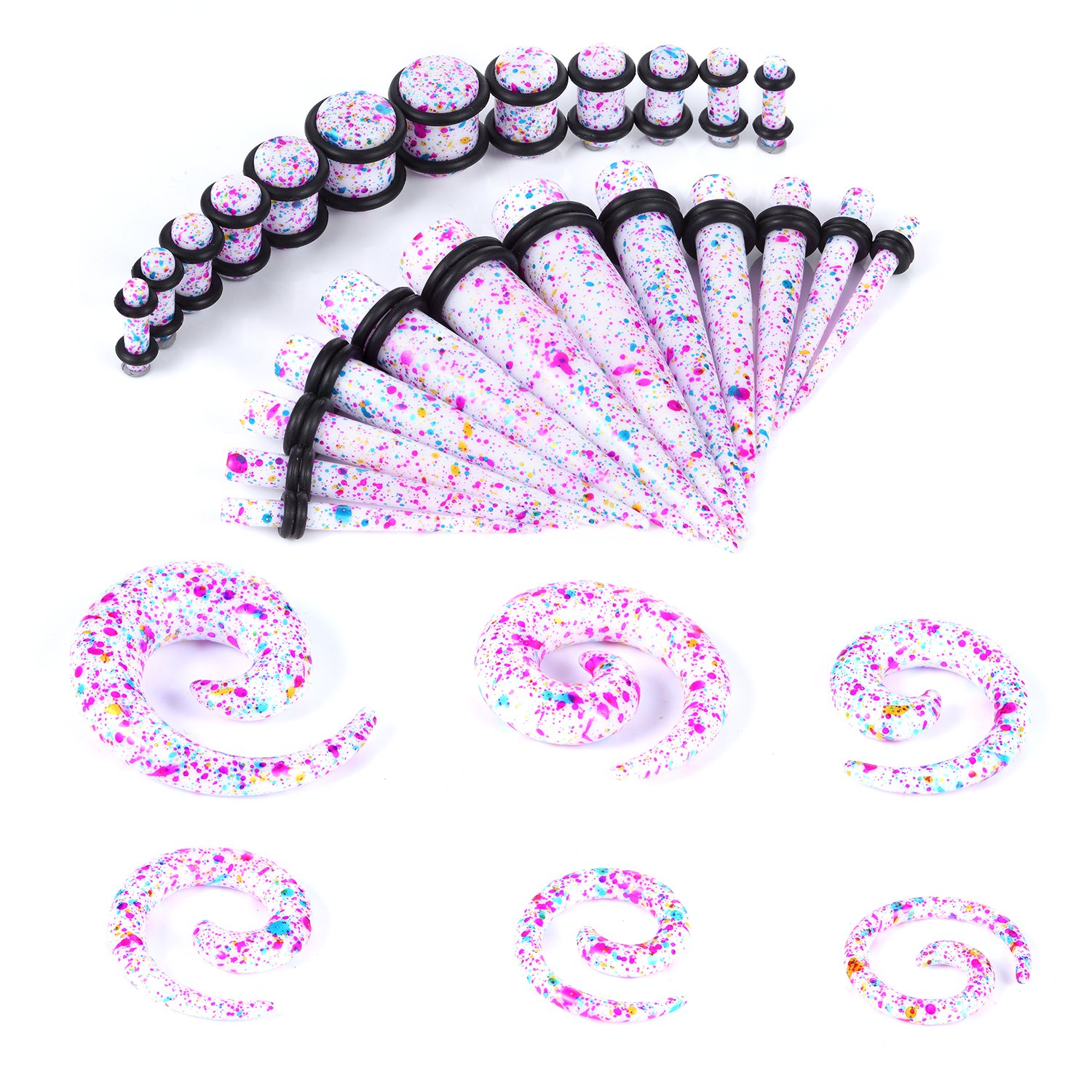 BodyJ4You 36 Pieces Taper Kit Tie Dye Spiral Tapers and Plugs 8G-00G Stretching Kit -18 Pairs GK0247