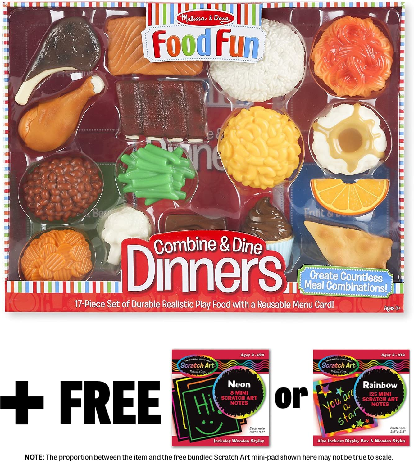 Melissa & Doug Combine & Dine Dinners: Food Fun Toy Play Set & 1 Scratch Art Mini-Pad Bundle (08267)