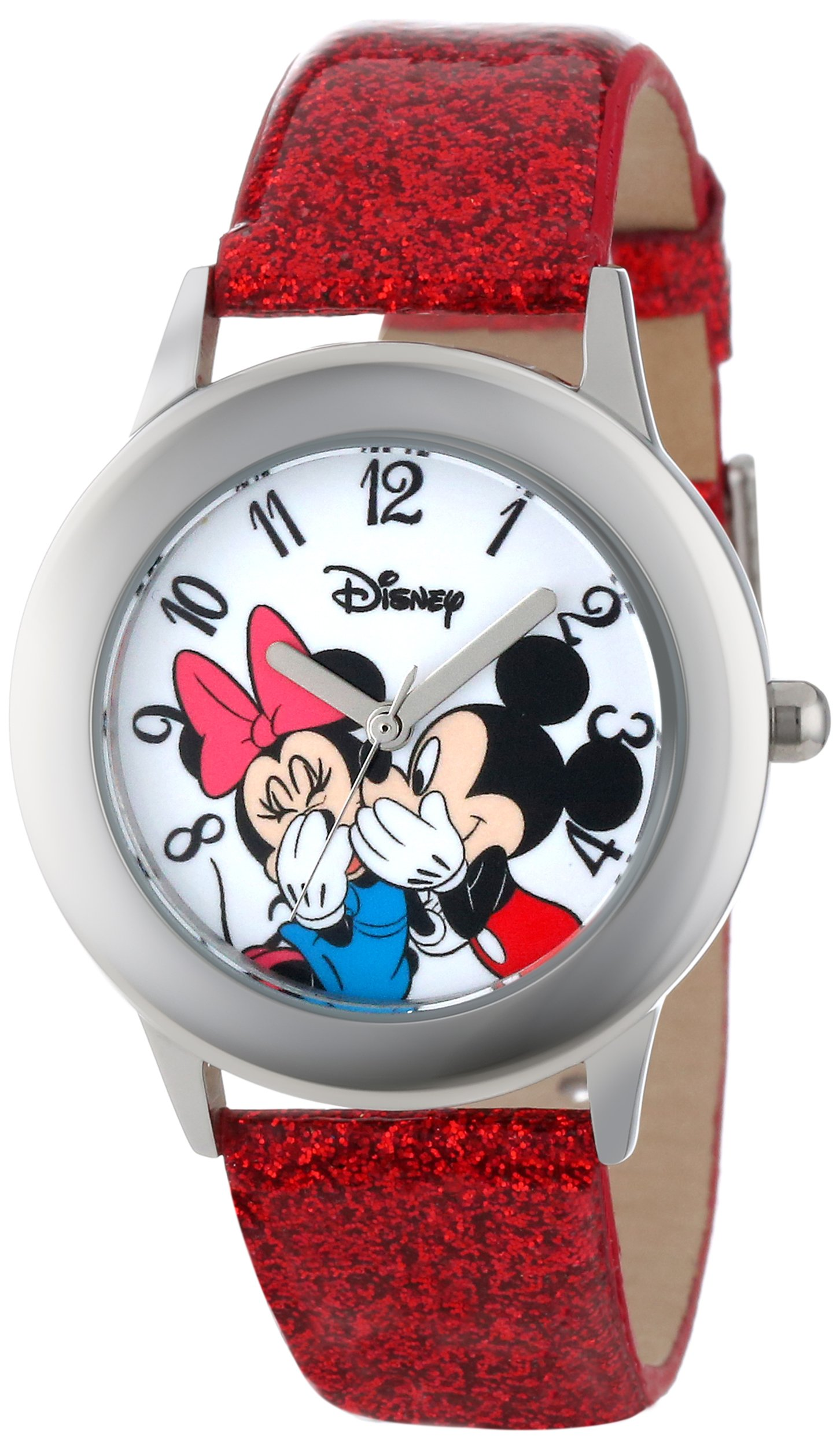 Disney Kids' W000853 Tween Mickey and Minnie Mouse Stainless Steel Watch with Red Glitter Band by Disney
