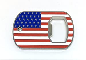 """uPatriots bottle opener patriotic U.S. Flag design, with a 29"""" ball chain & a key ring included"""