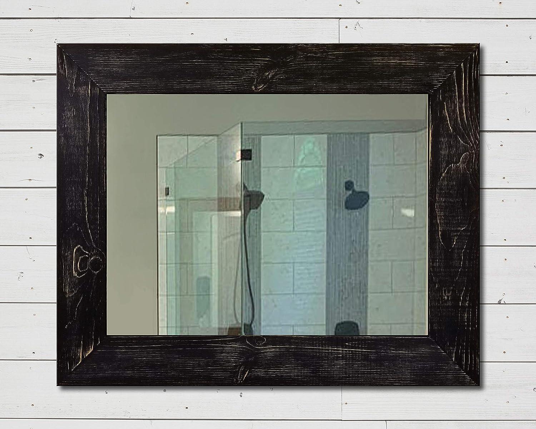 Shiplap Rustic Wood Framed Mirror 20 Paint Colors Black Framed Mirror Large Wall Mirror Rustic Barn Wood Style Shabby Chic Decor Vanity Mirror Bathroom Mirror Farmhouse Wall Decor Handmade