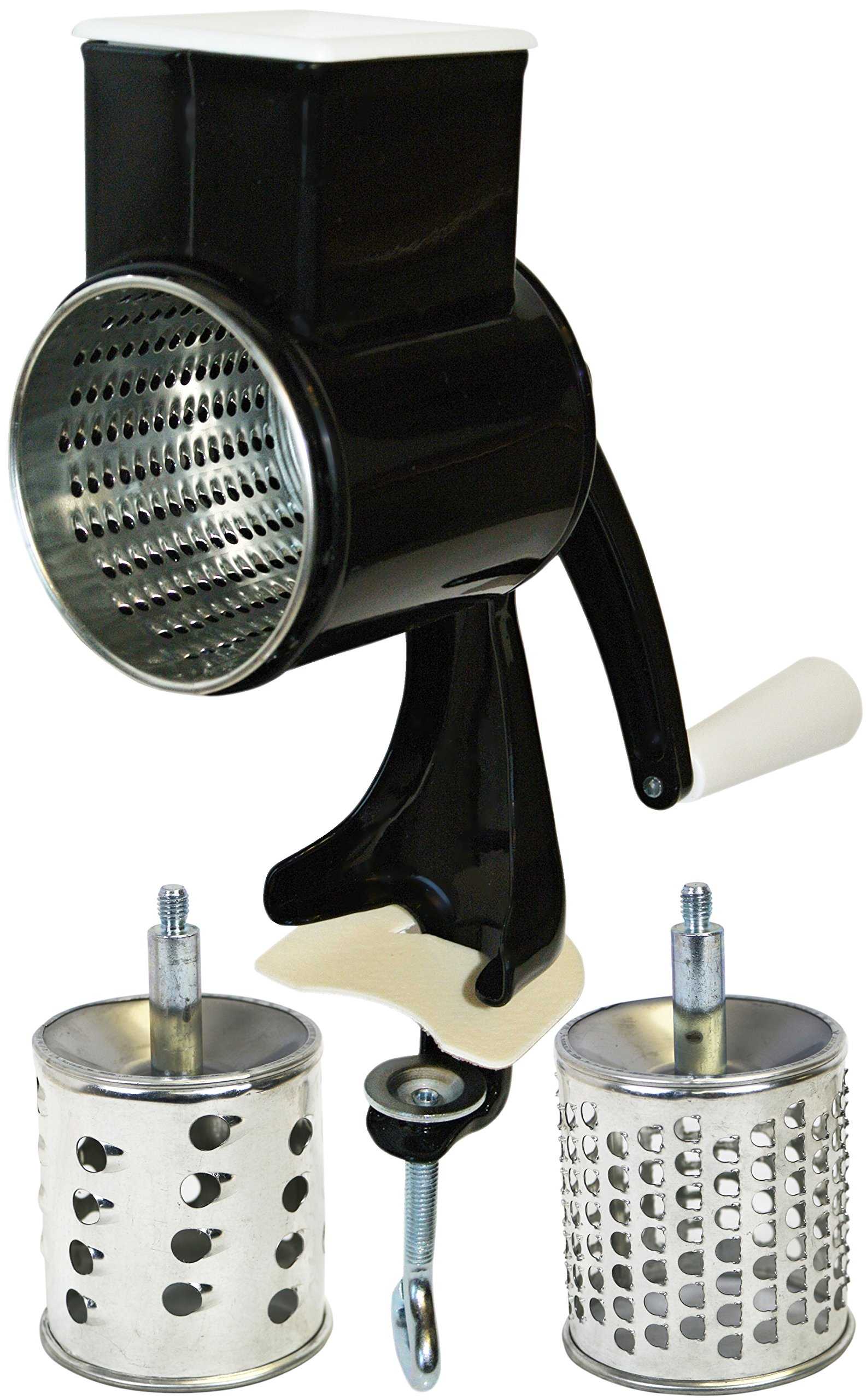 Reston Lloyd Multi Purpose Grater with 3 Stainless Steel Grating Barrels, Table Clamp, Black