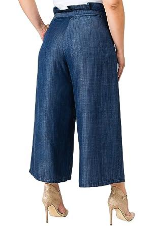 4d7252a2f7c Standards   Practices Plus Size Women s Paper Bag Waist Dark Wash Tencel  Gauchos Blue at Amazon Women s Clothing store