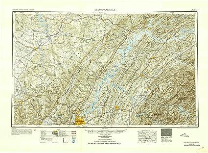 Amazon.com : YellowMaps Chattanooga TN topo map, 1:250000 Scale, 1 on