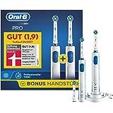 Oral-B Pro wiederaufladbare Elektrische Zahnbürste Bonuspack, mit 2 Handstücken und 3 Aufsteckbürsten, weiß/blau
