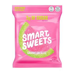 NEW SmartSweets Sourmelon Bites, Candy with Low Sugar (3g), Low Calorie, Plant-Based, Free From Sugar Alcohols, No Artificial Colors or Sweeteners, Pack of 6