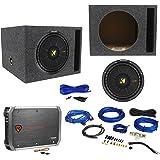 "KICKER 44CWCS124 CompC 12"" 600w Car Subwoofer+Vented Sub Box+Amplifier+Amp Kit"