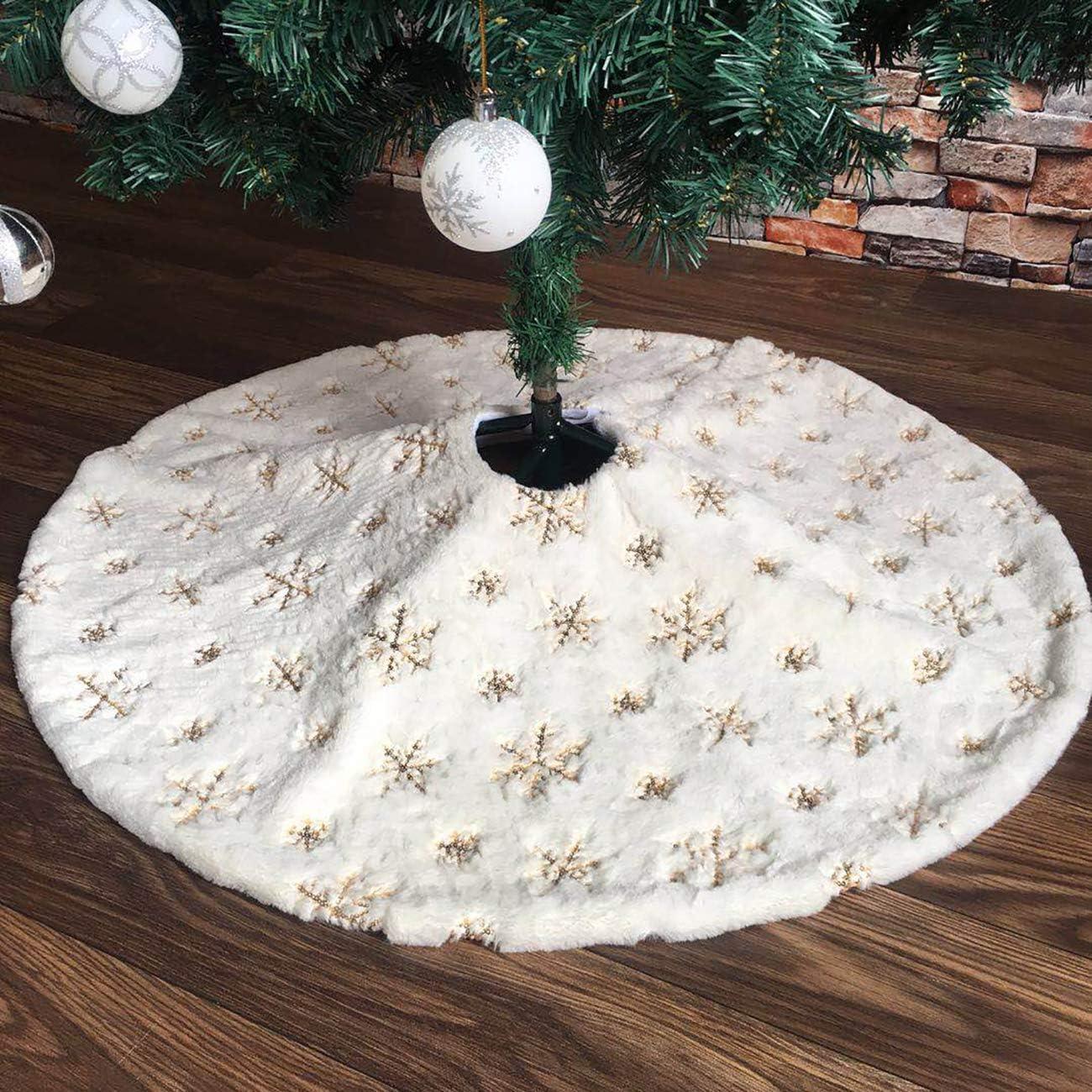 PICTURESQUE Falda Felpa Blanca Árbol de Navidad con Copo Dorado de ...