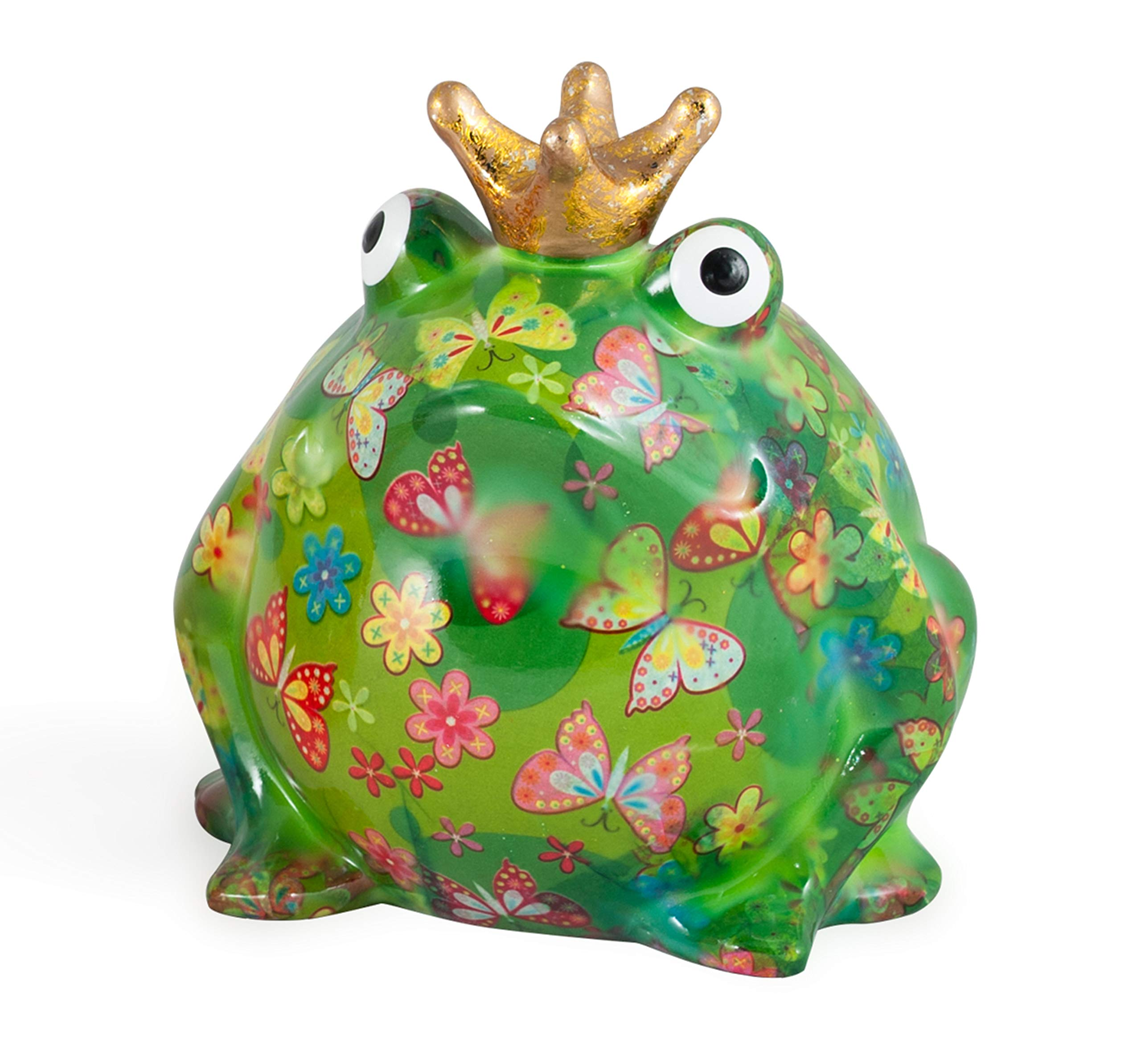 Pomme pidou Freddy Frog XXXL Ceramic Art Money Bank, Dk Green & Butterfly Floral