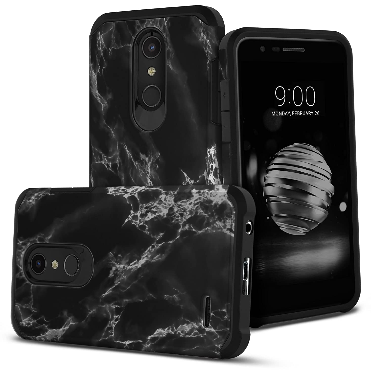 Celljoy Case Compatible with LG K30, LG K10 2018, LG Premier Pro LTE, LG X410 [Liquid Armor] ((Shock Proof)) Slim Impact Protection [Hybrid TPU/Hard Shell] (Gloss Black Marble)